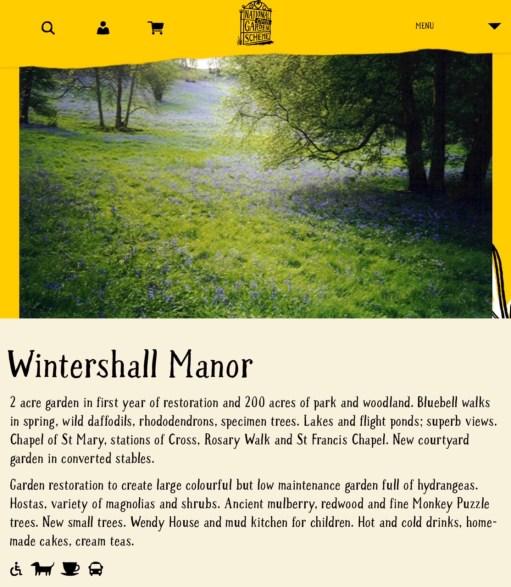 Wintershall Manor: National Open Garden Scheme Information Page.