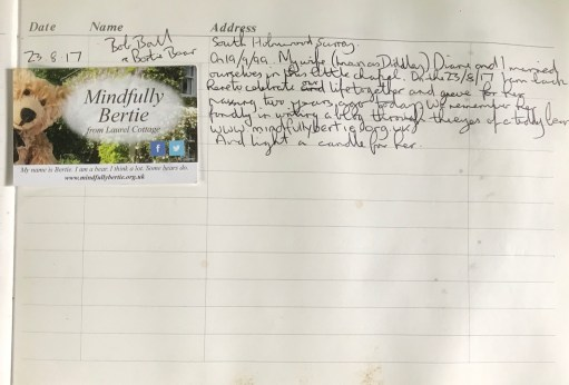 Wintershall Manor: The visitor book inside the chapel. The entry for 2017.