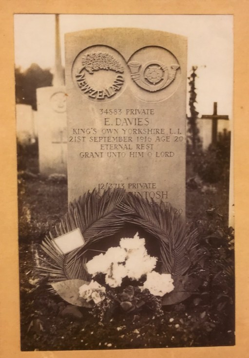 Private Evan Davies: Died 21 September 1916 Aged 20.