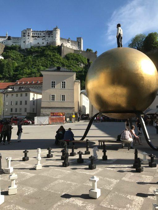 Salzburg: Hohensalzburg Castle, with some unusual artwork.