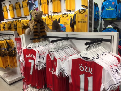 "Apricot Village: Arsenal's ""shop"" (their away strip a little Suttonish)."