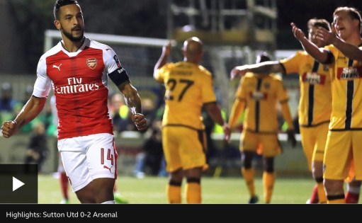 Apricot Village: Theo Walcott scores winner to Sutton United's dismay.