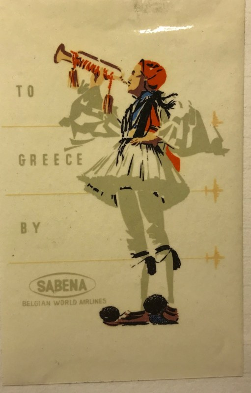 Trevor's Stickies: To Greece by Sabena.