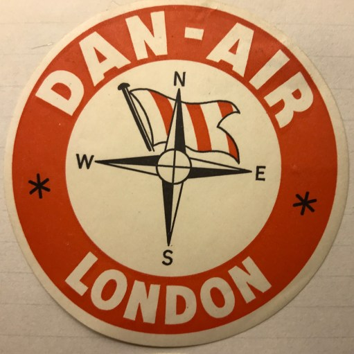 Trevor's Stickies: Danair. Formed 1953. Flew lots of jets, including Comets, from Gatwick. Merged with British Airways 1992.