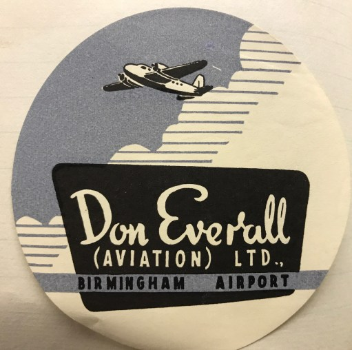 Trevor's Stickies: Don Overall Aviation. Short lived.1957-1961. Nice label.