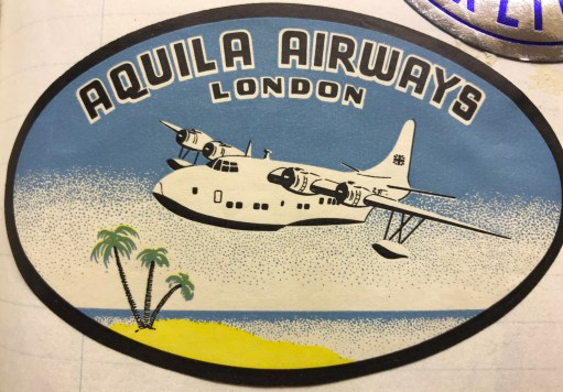 Trevor's Stickies: Aquila Airways. The rarest and most impressive label. Formed in 1948. It only lasted ten years. But years in which the final hoorah of a once great method of transport was played out. By flying boat from Southampton Water to Madeira and the Canary Islands. Carrying just 24 passengers with day and night accommodation, or 36 daytime. One day we may well write a flying boat blog.