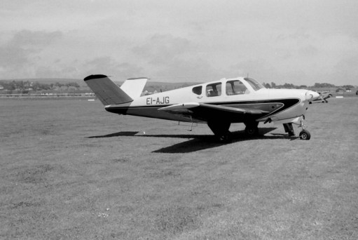 "The actual Bonanza (a Beech G35) they saw at Croydon Airport in 1958. A rare aircraft with a ""butterfly"" tail."