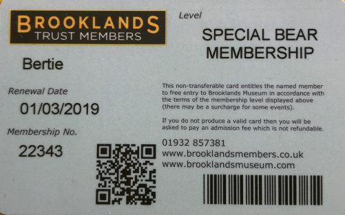 Special One: The very first Special Bear Membership ever allowed at Brooklands Museum.