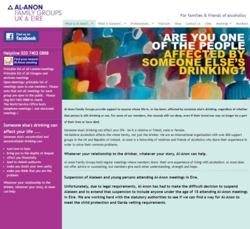 Alcoholic: Al-Anon UK Website Homepage.
