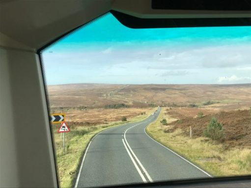 840 to Whitby: North Yorkshire Moors. The brown heather is a glorious purple in August.