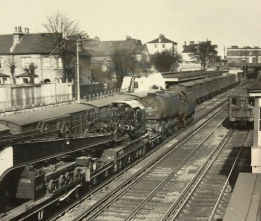 "The Footbridge: 1957, during Bobby's train spotting days. A Q1 freight engine pulling a large crane and just about to pass the freight vans in the ""Milk Dock""."