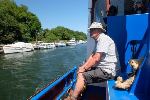 Uncle Dick: Cruising the Thames in style.