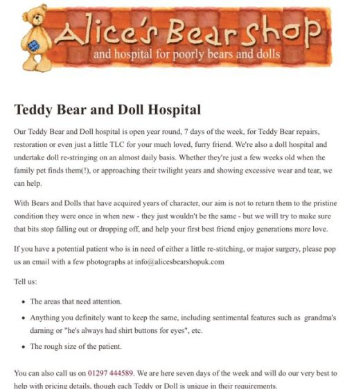 Uncle Dick: Alice's Bear Shop and hospital for poorly bears and dolls.