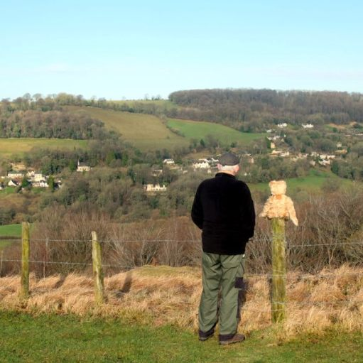 Missed You Bertie: 23 August 2017. A year ago. Swifts Hill, Slad, where Diddley's ashes lie.