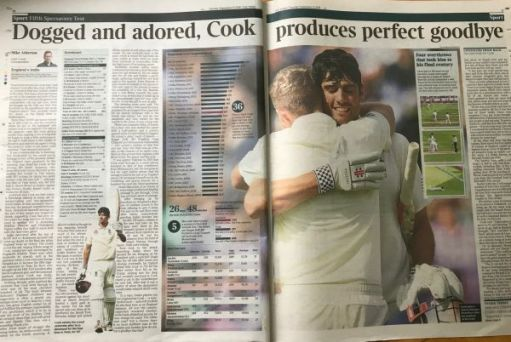 "I woz there: ""Dogged and adored, Cook produces perfect goodbye"""