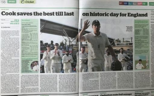 "I woz there: ""Cook saves his best till last on historic day for England"""