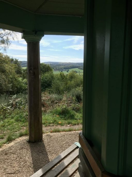 Over the Hills and Far Away: South from the summerhouse towards Leith Hill.