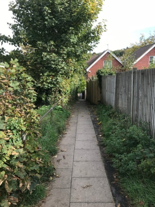 """Over the Hills and Far Away: """"The Struggle"""". A steep footpath up which generations of schoolchildren, including Andrew, have struggled on their way to school."""
