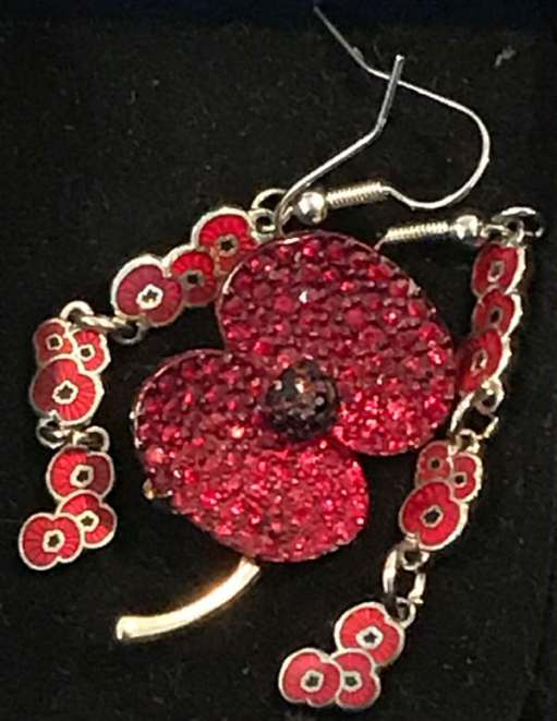 Remembrance Day: Diddley wanted a very special poppy and chose this enamelled brooch and ear rings. She would be delighted to know that they are in safe keeping with her granddaughter Layla.