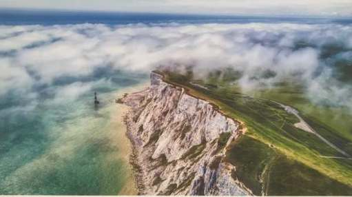 Landscape Photographer. Chris Gorman: Low Clouds Drift across Beachy Head, East Sussex, England.