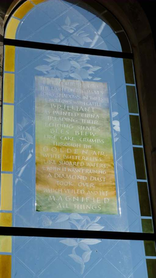 Cotswold Reverie: The Laurie Lee memorial window in Holy Trinity.