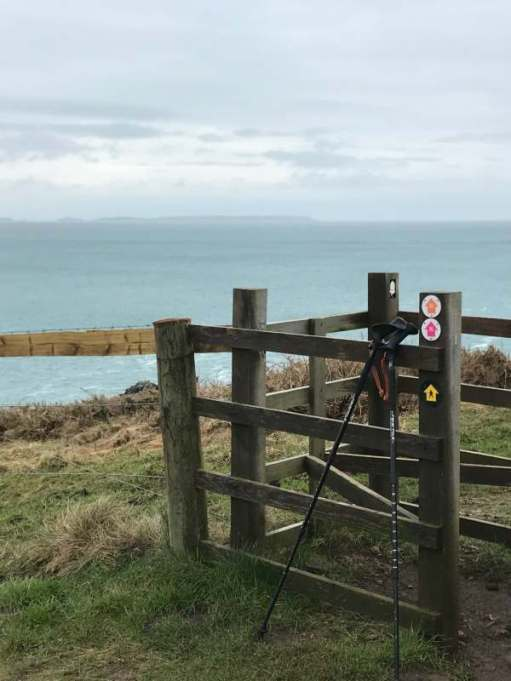 Walk from St David's: Walking poles are very handy. Skomer Island, across St Brides Bay.