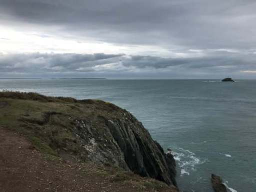 Walk from St David's: Grey forbidding clouds towards Skomer.