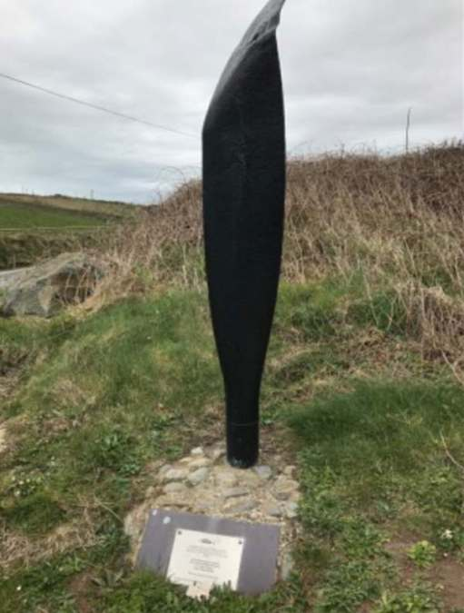 Walk from St David's: In the car park of Whitesands Bay. An American war memorial. Apologies for poor quality of the inscription picture.