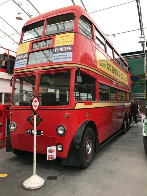 A trolleybus at the London Transport Museum, Acton.
