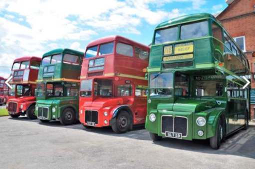 The prototypes. Routemasters 1, 2, 3 & 4. The three to the right with original restored radiator appearance. Brooklands Museum Bus Day… (see later).