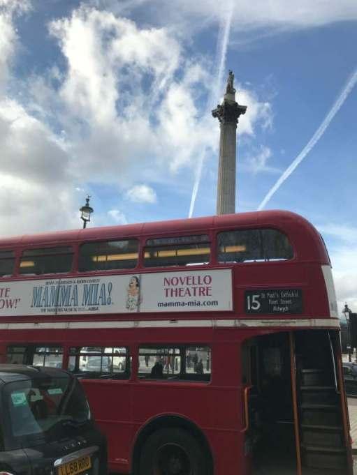 Routemaster: Underneath Nelson's Column.