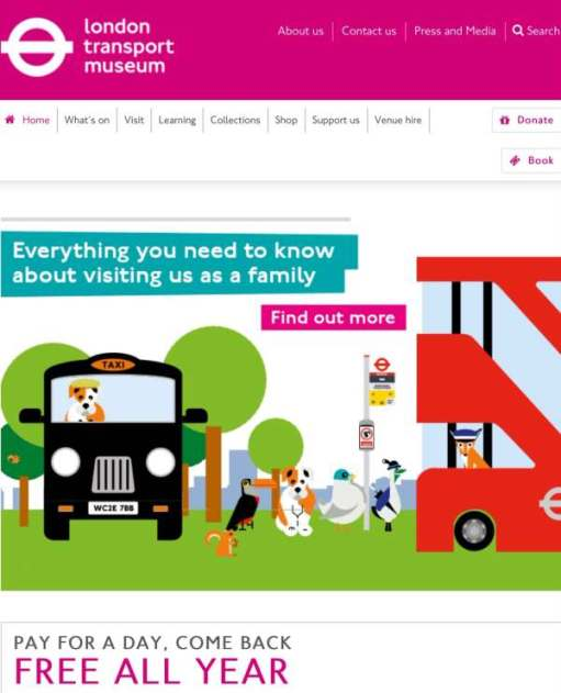 Homepage of the London Transport Museum website.