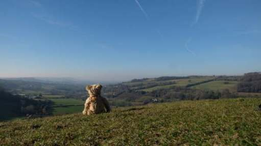 Tick tock. Look west. Swift's Hill, Gloucestershire, looking towards Wales.