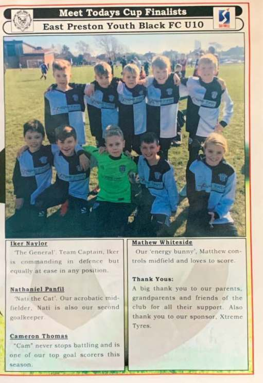 We Won the Cup: Another page from the programme listing the team.