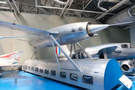 April in Paris: The Leduc… Possibly crazy! Powered by a Ramjet, which can only operate at speed, the contraption had to be taken aloft. The pilot virtually in the middle of the engine. This was the last one built and flew 83 times and got up to 500mph.