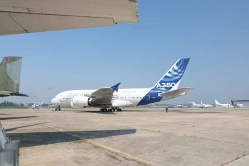 """April in Paris: Airbus 380 prototype. The biggest airliner in the world but now """"too big"""" compared with twin engined airliners like the Dreamliner. Production is ending."""