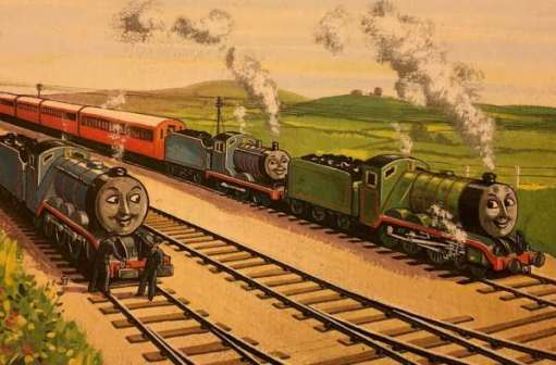 "Edward and Henry double-heading Gordon's ""Very Important Train"", with Gordon alongside."
