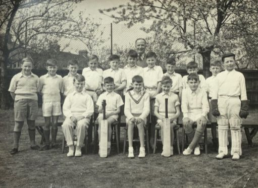 "Cheam Park Farm cricket team. Tallest centre back. I truly ""belonged"" to that cricket team. 1955. I wonder where the all boys are now?"