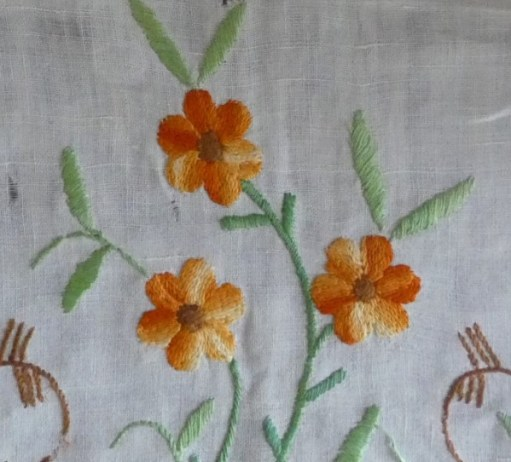 Close up of embroidered flowers.