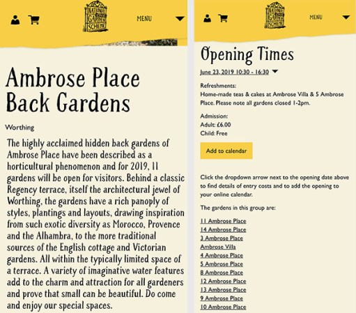 Worthing Gardens - Ambrose Place Back Gardens Open Day Website.