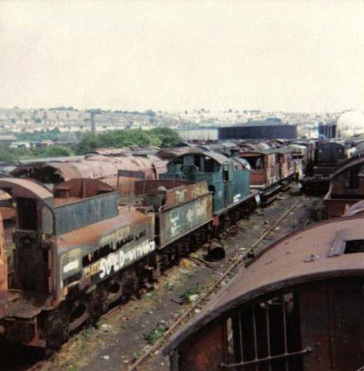 Line up of locomotives in Woodham's scrapyard.
