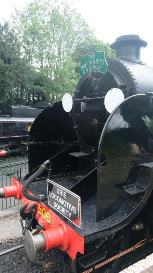 Front of 30506 showing Urie Locomotive Society plate on the buffer beam and Mid Hants Railway on the smokebox.