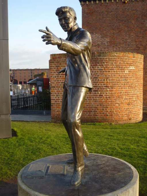 Statue of Billy Fury on Liverpool Seafront.