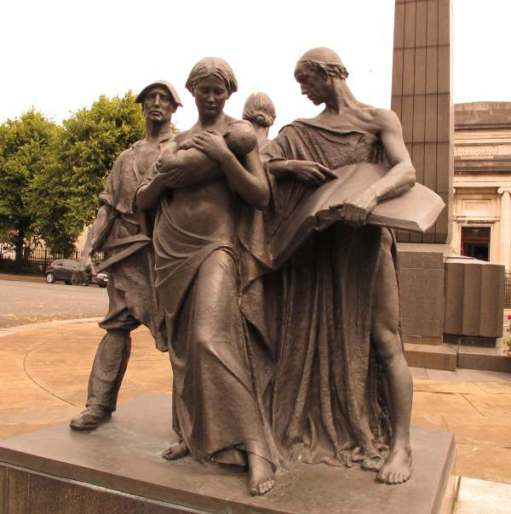 A statue at Port Sunlight representing Industry Charity Education.