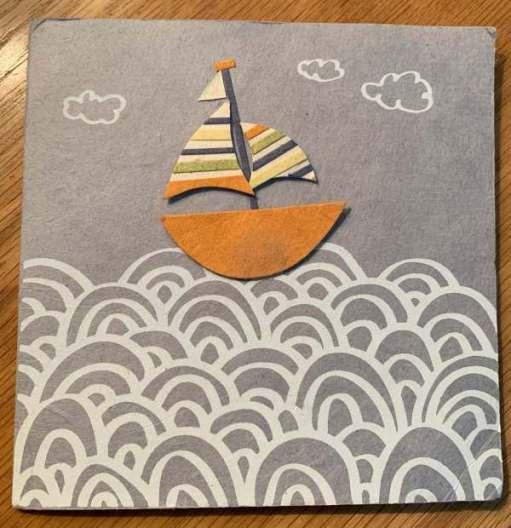 Card featuring an artistic yacht on a sea.