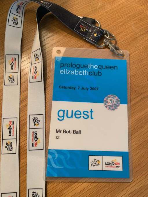 Pass for Bob Ball as guest: Prologue the Queen Elizabeth Club.