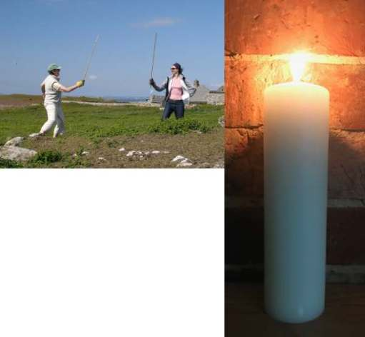 Diddley and Amber having a mock sword-fight and a separate image of a lit candle in their memories.