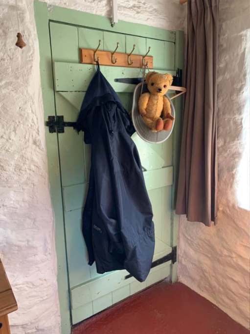 Eamonn hung up on the coat rack on the back of the bedroom door!