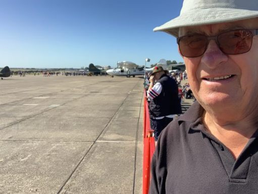 Bobby in the foreground, with the airfield ready and waiting behind.