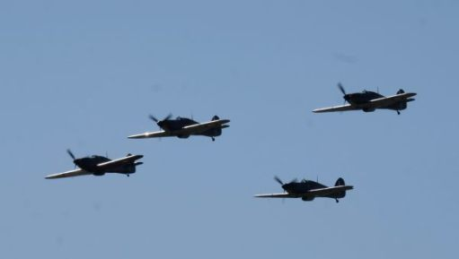 4 Hurricanes in the air at Duxford 2019.